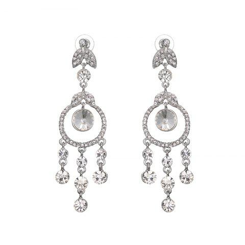 Fancy Rhinestone Leaf Chandelier Earrings