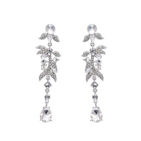 Trendy Rhinestone Leaf Teardrop Earrings SILVER