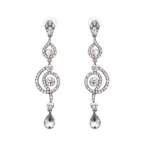 New Rhinestone Round Teardrop Earrings SILVER