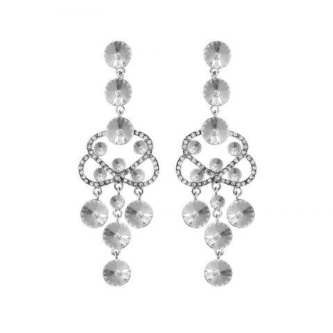 Affordable Hollow Out Rhinestone Chandelier Earrings SILVER