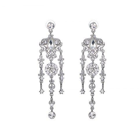 Outfit Rhinestone Flower Teardrop Chandelier Earrings SILVER