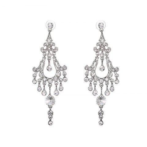 Online Chandelier Rhinestone Earrings SILVER