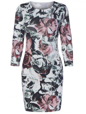 Outfits Floral Bodycon Mini Dress With Sleeves