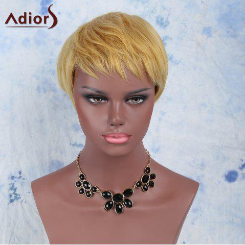 Best Golden Mixed Fashion Short Pixie Cut Straight Side Bang Synthetic Wig