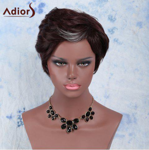 Discount Handsome Short Fluffy Side Bang Slightly Curled Synthetic Wig DARK AUBURN