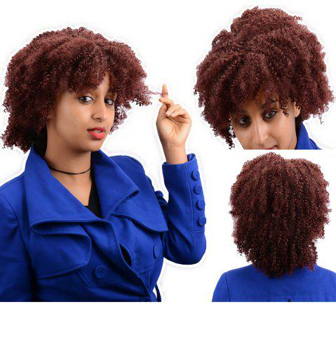 Best Short Afro Curly Synthetic Wig BURGUNDY