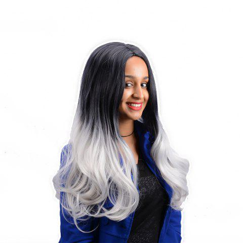 Long Middle Part Ombre Color Slightly Wavy Synthetic Wig - WHITE/BLACK