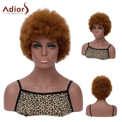 Adiors Hair Short Full Bang Afro Curly Synthetic Wig - BROWN