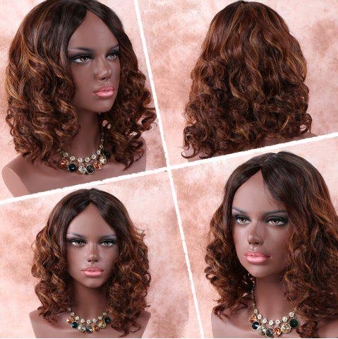 Fancy Medium Asymmetric Curly Middle Part Brown Mixed Synthetic Wig