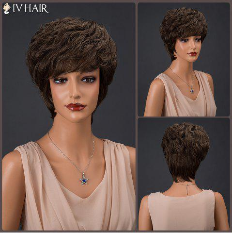 Discount Siv Hair Short Fluffy Full Bang Layered Curly Real Natural Hair Wig COLORMIX