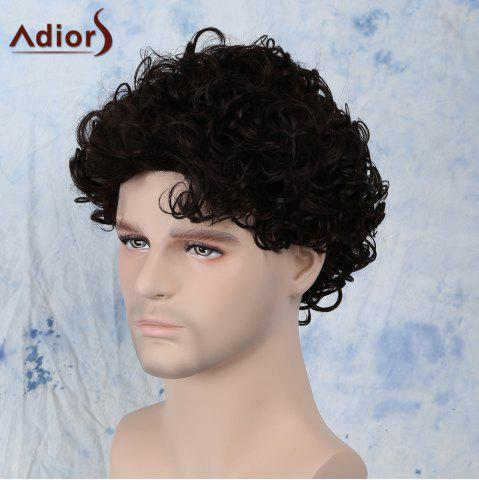 New Short Fluffy Curly Side Bang Synthetic Capless Wig - BLACK BROWN  Mobile
