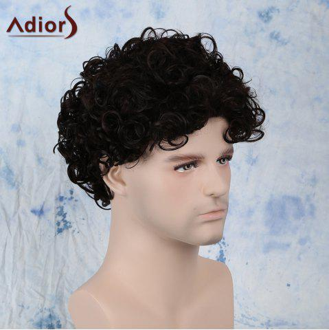 Affordable Short Fluffy Curly Side Bang Synthetic Capless Wig - BLACK BROWN  Mobile