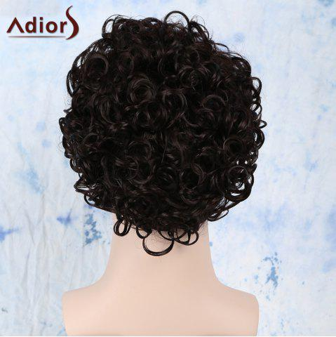 Trendy Short Fluffy Curly Side Bang Synthetic Capless Wig - BLACK BROWN  Mobile