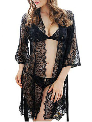 New Sheer Lace Belt Three Piece Babydoll - S BLACK Mobile