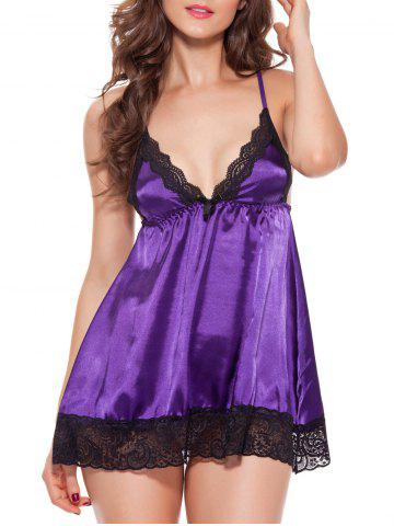 Lace Insert Cami Satin Sleepwear Babydoll - Purple - 2xl