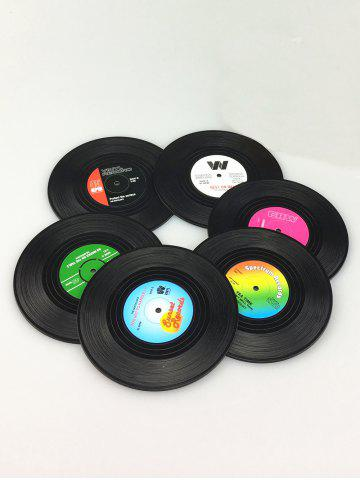 Cheap 6PCS Skidproof Thermal Insulation Table Vinyl Record Coasters BLACK
