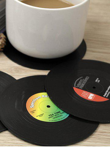 Chic 6PCS Skidproof Thermal Insulation Table Vinyl Record Coasters - BLACK  Mobile