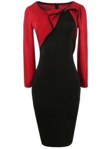 Affordable Long Sleeve Bowknot Color Block Pencil Dress RED 2XL