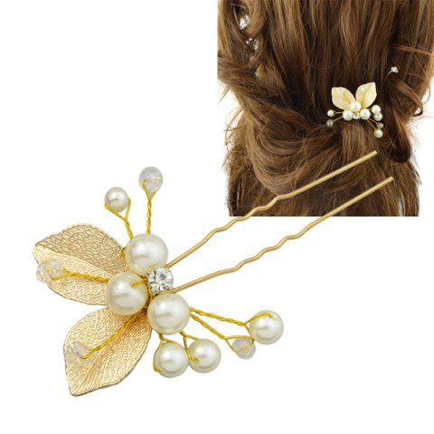 Outfit Faux Pearl Rhinestone Leaf Hairpin GOLDEN