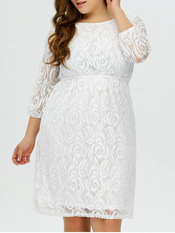 Plus Size Lace Floral Prom Wedding Dress - White - Xl
