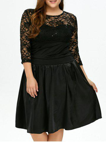 Chic Plus Size  Lace Insert Knee Length Dress