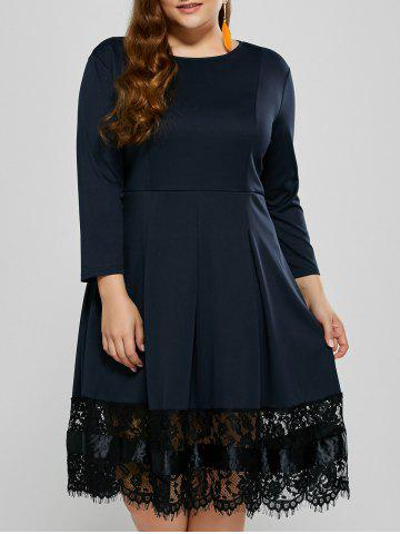 Plus Size Ruched Lace Trim Long Sleeve Dress - Purplish Blue - Xl