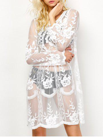 Trendy Long Sleeve See-Through Lace Cover-Up