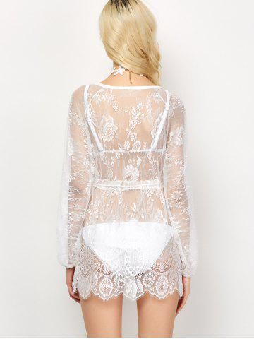 Affordable Drawstring See-Through Lace Swimsuit Cover-Up - L WHITE Mobile