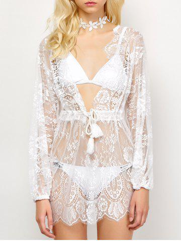 Discount Drawstring See-Through Lace Swimsuit Cover-Up - S WHITE Mobile