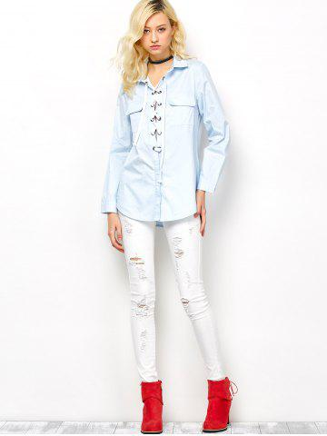 Hot Long Sleeve Lace-Up Blouse - XL LIGHT BLUE Mobile