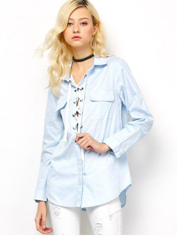 Store Long Sleeve Lace-Up Blouse - L LIGHT BLUE Mobile