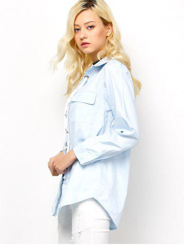 Buy Long Sleeve Lace-Up Blouse - L LIGHT BLUE Mobile