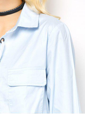 Discount Long Sleeve Lace-Up Blouse - L LIGHT BLUE Mobile