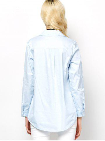 Hot Long Sleeve Lace-Up Blouse - L LIGHT BLUE Mobile