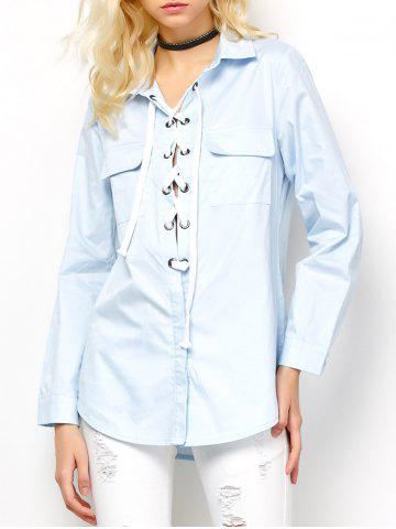 Fancy Long Sleeve Lace-Up Blouse - L LIGHT BLUE Mobile