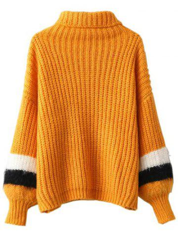Fashion Turtleneck Puffed Sleeve Sweater - ONE SIZE EARTHY Mobile