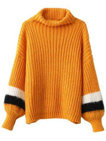 Unique Turtleneck Puffed Sleeve Sweater - ONE SIZE EARTHY Mobile