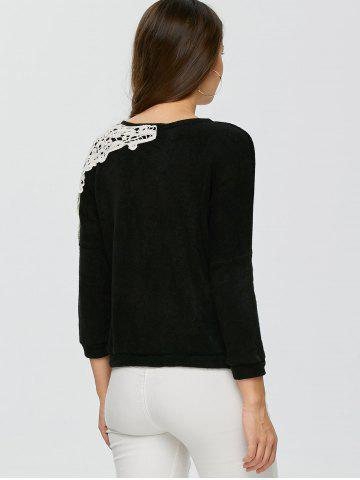 Trendy Lace Applique Sweater - XL BLACK Mobile