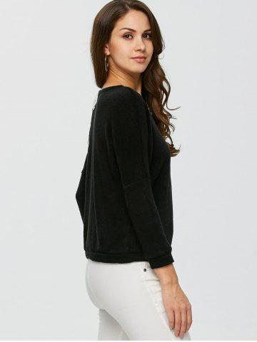 New Lace Applique Sweater - XL BLACK Mobile