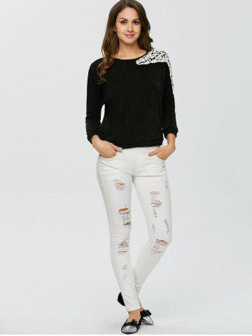 Shop Lace Applique Sweater - XL BLACK Mobile