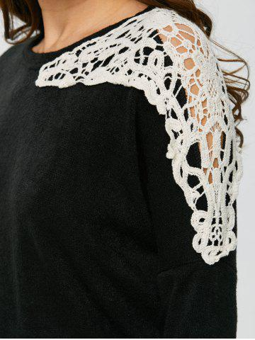 Hot Lace Applique Sweater - XL BLACK Mobile