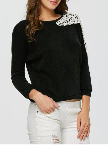 Lace Applique Sweater - Black - S