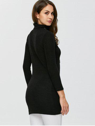 New Ribbed Turtleneck Sweater - S BLACK Mobile