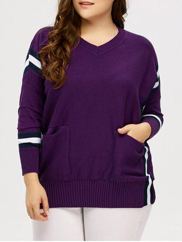 New Plus Size Striped Trim Pockets Knitwear - XL PURPLE Mobile