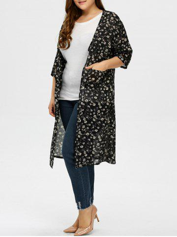 Cheap Plus Size Tiny Floral Longline Cardigan - XL BLACK Mobile