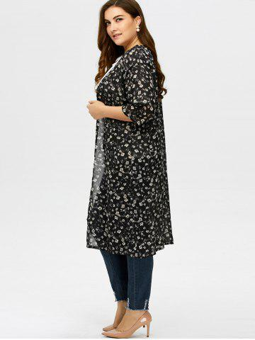 Latest Plus Size Tiny Floral Longline Cardigan - L BLACK Mobile