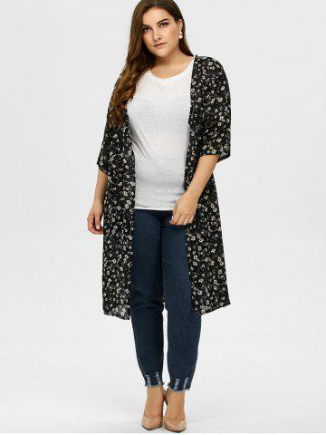 Online Plus Size Tiny Floral Longline Cardigan - L BLACK Mobile