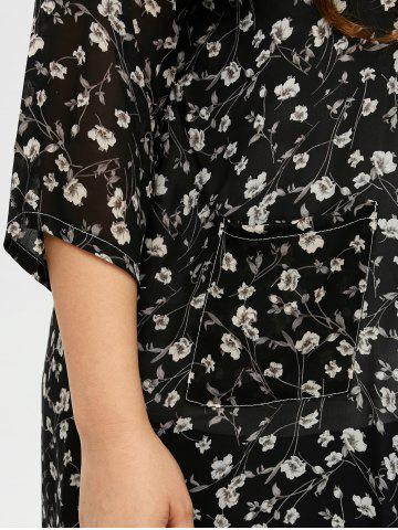 Fancy Plus Size Tiny Floral Longline Cardigan - L BLACK Mobile
