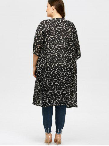 Affordable Plus Size Tiny Floral Longline Cardigan - L BLACK Mobile