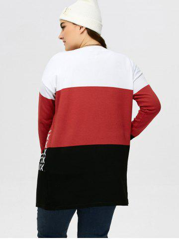Fancy Plus Size Drop Shoulder Knit Cardigan - 2XL BLACK AND WHITE AND RED Mobile